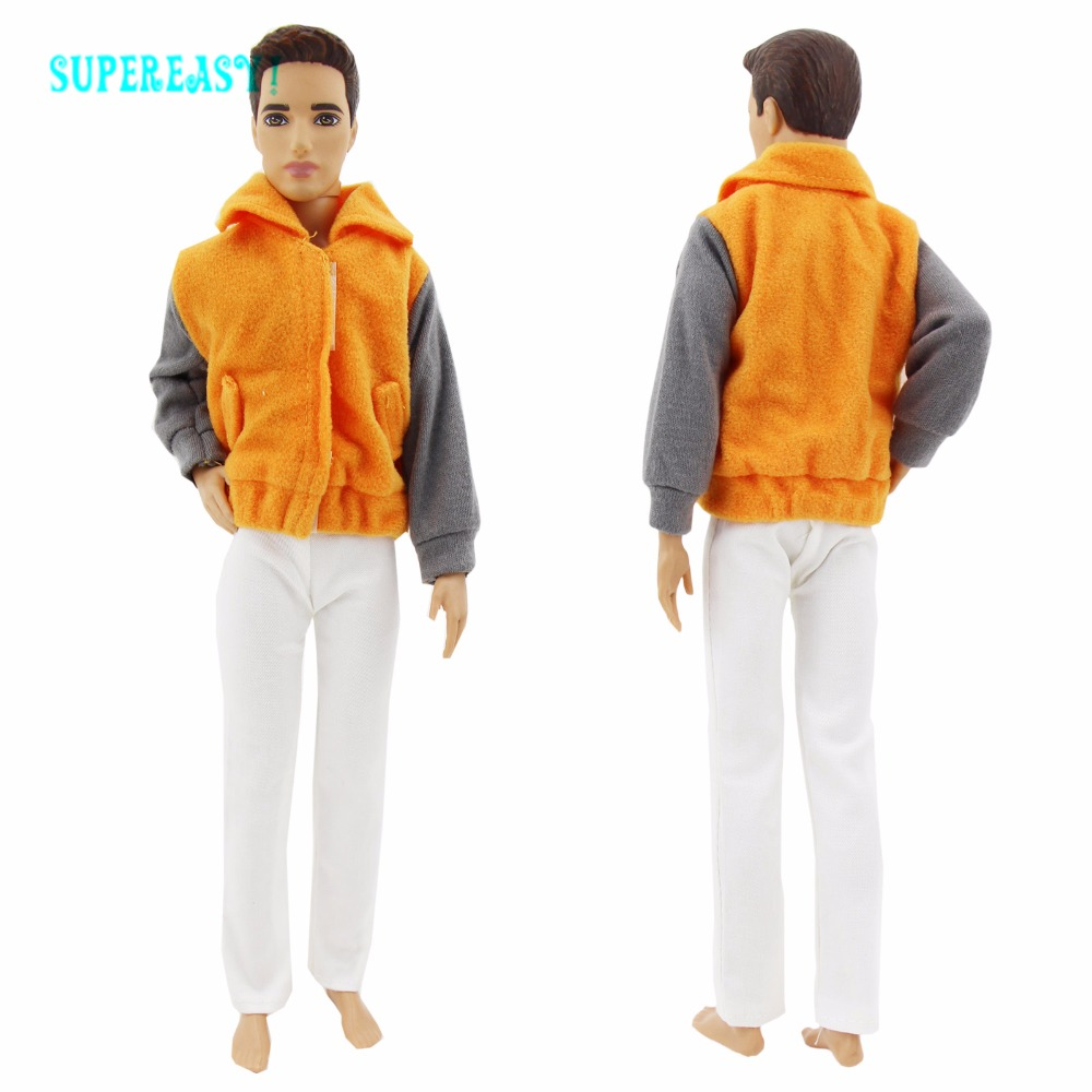 Vogue Trendy Outfit Handmade Informal Cool Put on Orange Coat White Pants Costume For Barbie Buddy Ken Doll Garments Equipment