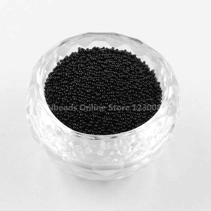 Transparent DIY 3D Nail Art Decoration Mini Glass Beads, Tiny Caviar Nail Beads, Black, 0.6~0.8mm; about 450g/bag(China (Mainland))