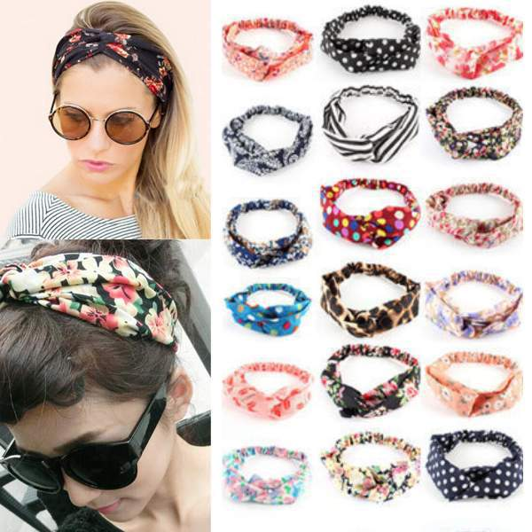 Fashion Women Flower Hair Band Turban Head Wrap Headband Twisted Knotted Yoga Head Wrap(China (Mainland))