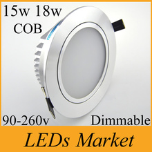 AC85V-265V COB 15w 18w 21w LED Ceiling Downlight Dimmable Recessed LED Spot light + LED Driver indoor Lighting CRI85 CE UL CSA(China (Mainland))