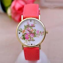 2014 New Fashion Leather GENEVA Rose Flower Watch Women Dress Watch stylish Quartz Watches Ladies Rhinestone Wristwatches
