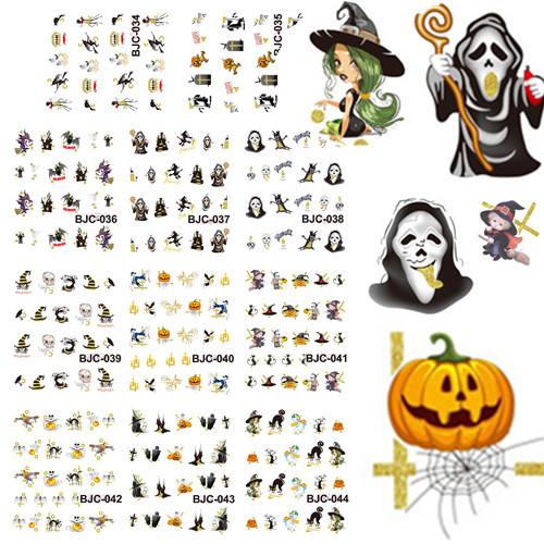 1 set 11 designs Pumpkin Hat Halloween Theme Nail Decals Nail Art Water Transfer Sticker Nails Foil Polish Wraps DIY #BJC034-044(China (Mainland))