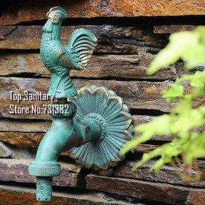 TB9040-2 Decorative outdoor faucet rural animal shape garden Bibcock with antique bronze Rooster tap(China (Mainland))