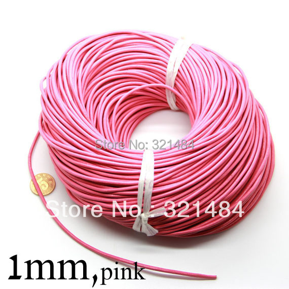 Pink colored 100m guniune real round leather cord 1mm leather strings ropes for jewelry beads making supplies(China (Mainland))