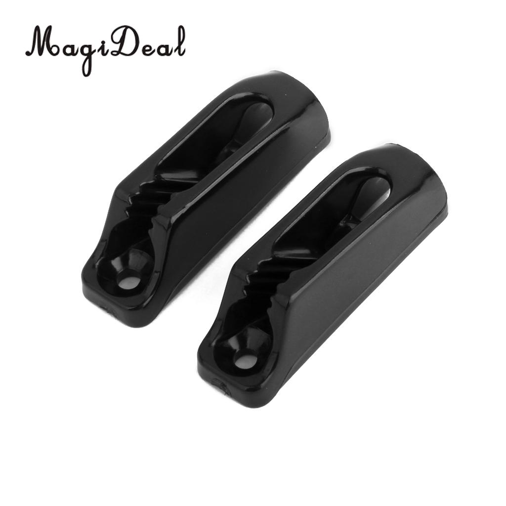MagiDeal High Quality 2Pcs Black Nylon Self-lock Rope Cord Tensioner Runner for Outdoor Safety Canoeing Kayak Surfing Boat Acce