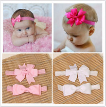 2pcs/ set  hair elastic bands ribbon bows kids infant baby girls headwear accessories headbands satin flower hairband headwrap