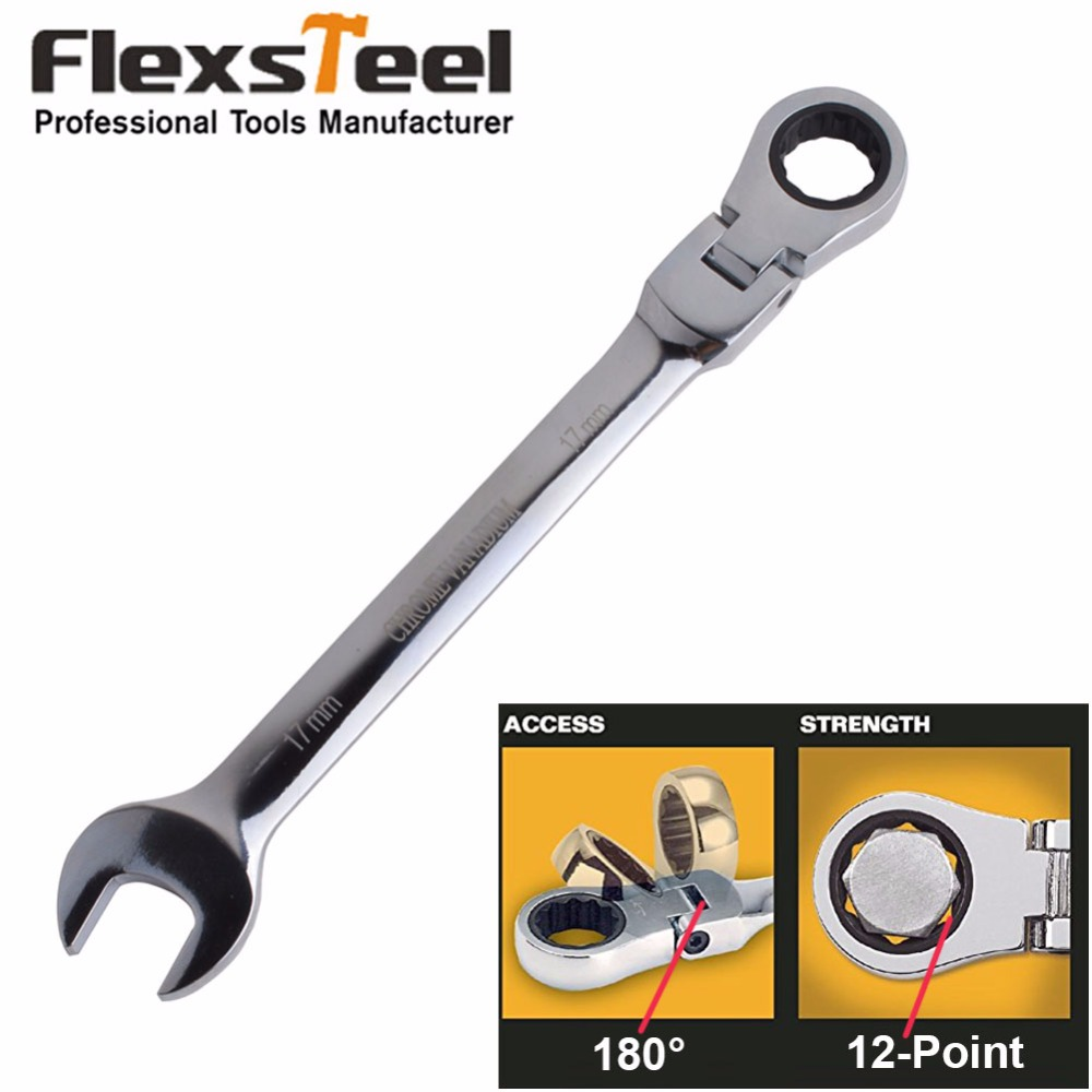 Head Ratchet Spanner, Flex-Head Ratcheting Combination Wrenches