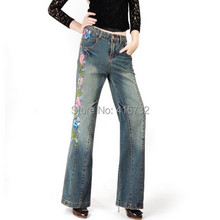 Free Shipping 2015 New Fashion Long Pants For Women Embroidery Flower Trousers Plus Size Denim Wide Leg Jeans Female Chinese