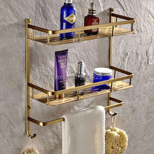Antique Brass Double Tier Bathroom Shelves Wall Mounted Bath Storage Rack with Towel Bar(China (Mainland))