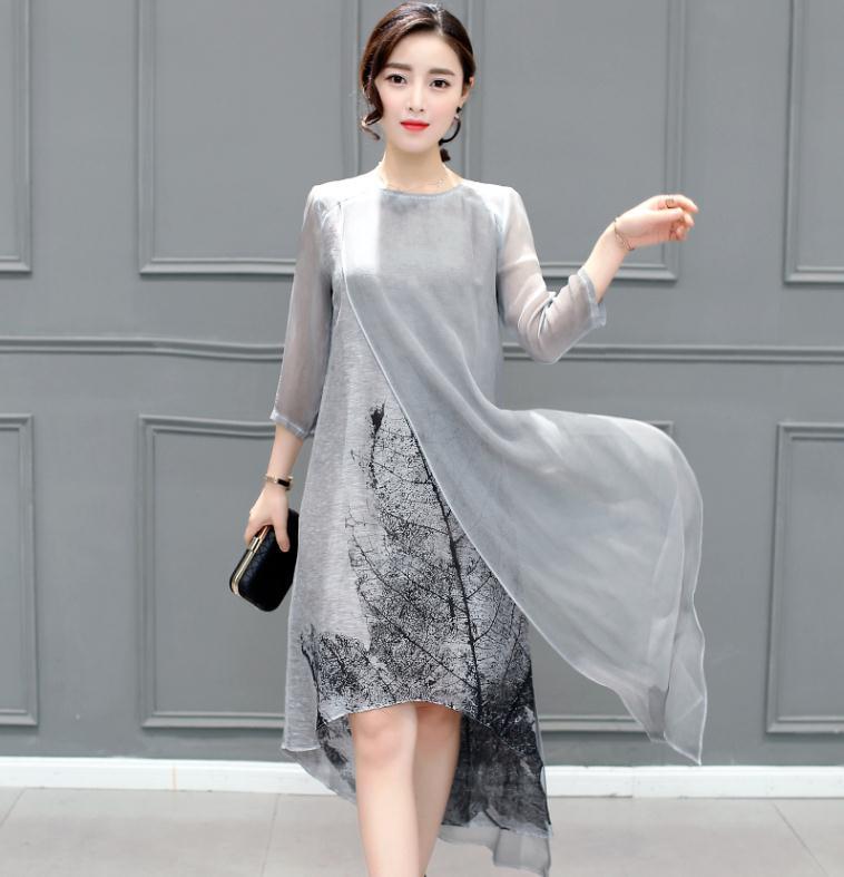 2017 New Spring Summer Women Cotton Linen Long Dresses Irregular Folk Art Ink Print Casual Plus Size Slim Dress Retro Printing(China (Mainland))