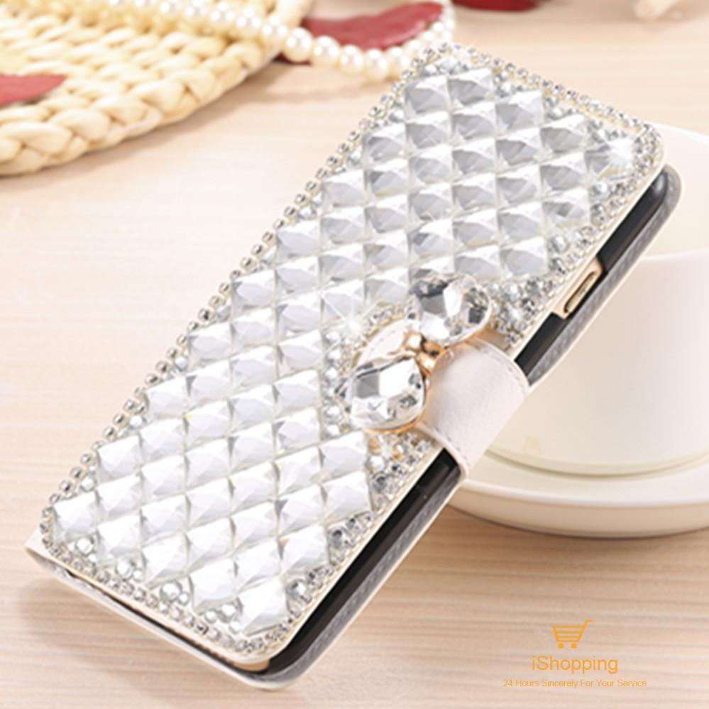 Luxury Bling Crystal Rhinestone Diamond Flip Leather Case for Blackberry Priv Kickstand Card Holder Wallet Phone Case(China (Mainland))
