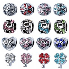 Antique silver Alloy Beads With Crystal DIY European Beads Spacer Metal Chunky Bead Fit Pandora Charms Bracelet(China (Mainland))