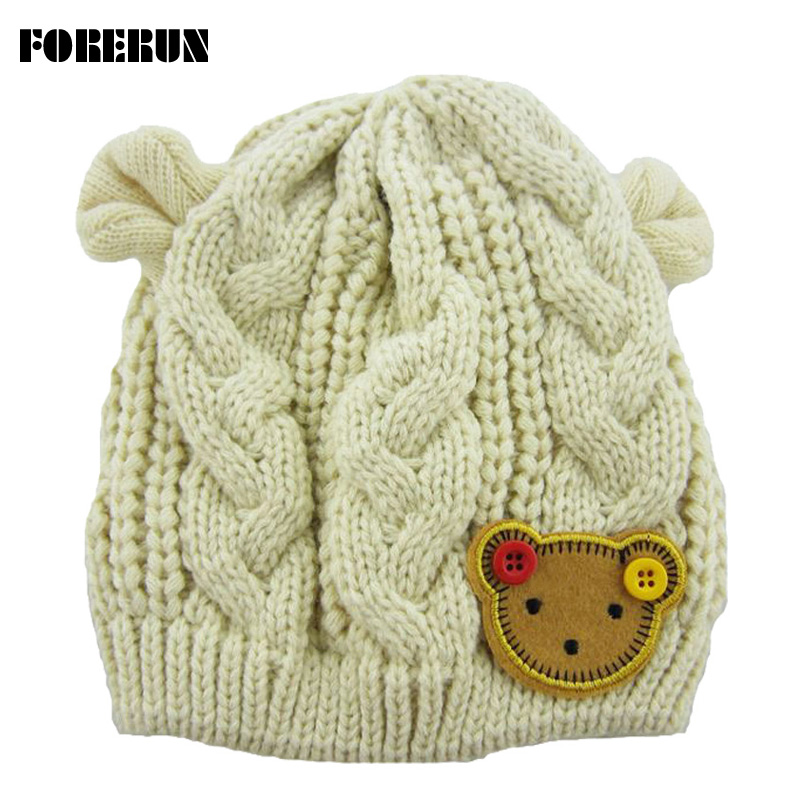 Knitted Baby Hat with Ears Cartoon Label Bear Animal Hats for Kids Solid Christmas Baby Girl Winter Hat Warm Toddler Hat Beanies(China (Mainland))