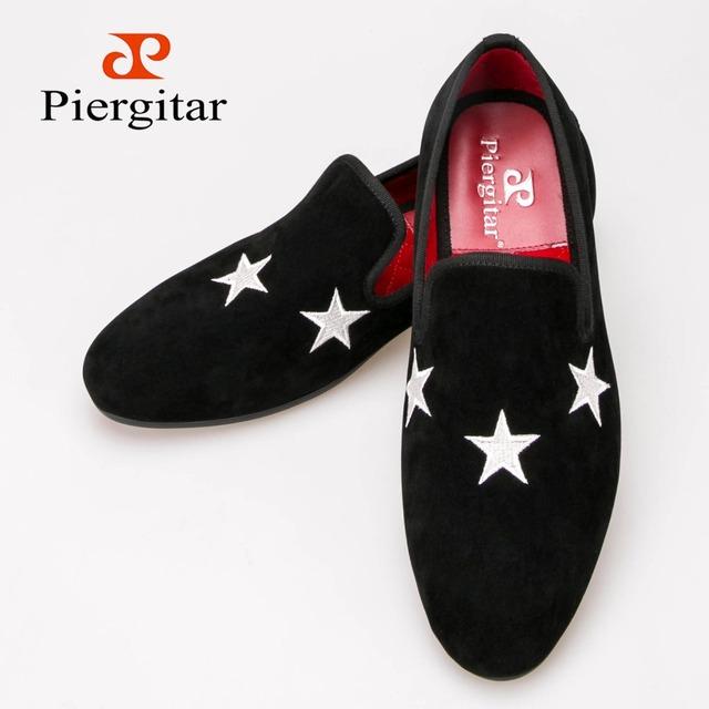 Мужчины Piergitar ручной черный бархат тапочки мокасины с звезда и ну вечеринку размер ...