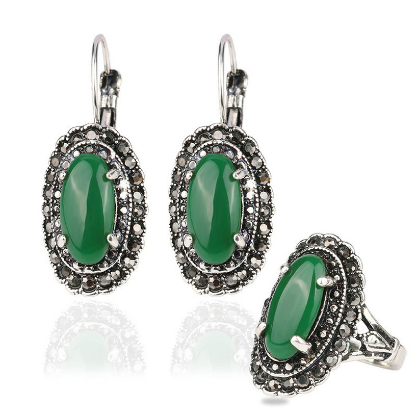 2016 hot sale vintage earrings and rings jewelry sets for Man made sapphire jewelry
