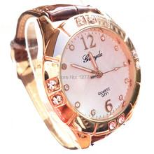 Precio promocional! banda de cuero pvc, grandes deco cristal en caja con chapado en oro, Gerryda moda señora relojes de cuarzo, 721