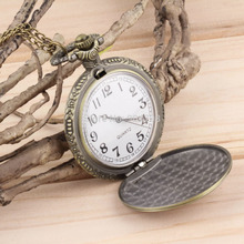 Antique Vintage Retro Bronze Quartz Pendant Chain Necklace Pocket Watch