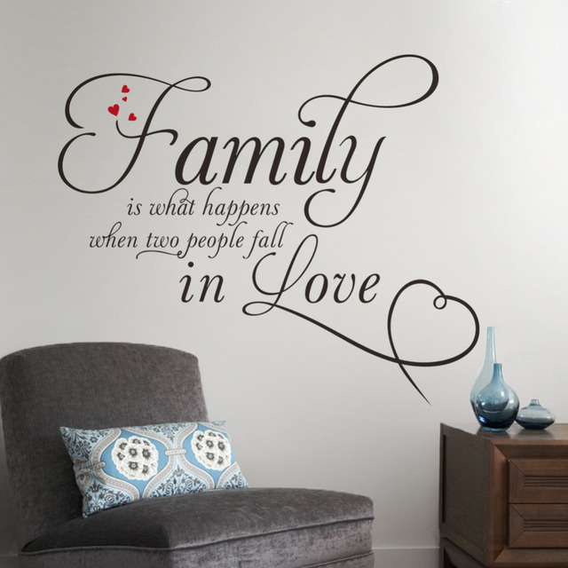 Стикер стены семейные люди влюбляются винил мальчики девочки в форме сердца домашнего декора стены искусства наклейки украшения дома