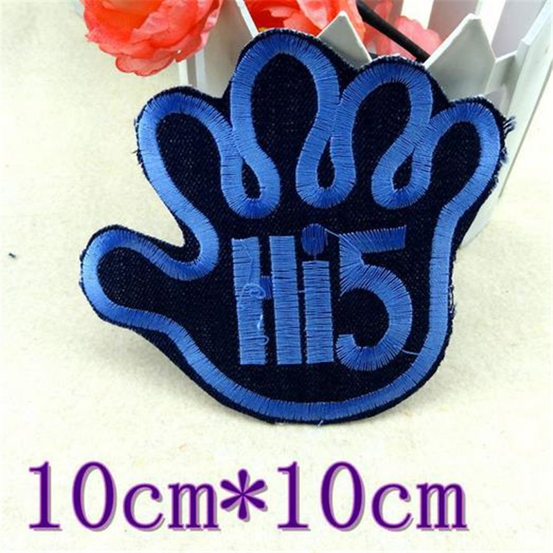 Embroidery Patch Jeans Hi5 Logo Girl Iron on Patches For Clothing ( t shirt , polo , clothes , bag , shoes ,hat ) Free Shipping(China (Mainland))