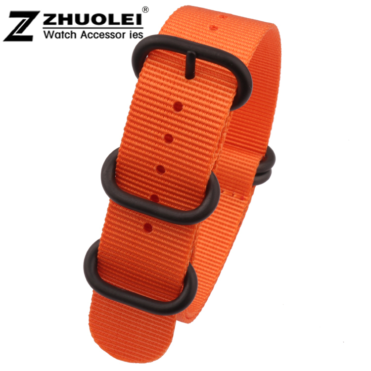 Wholesale Nato 22mm 24mm ZULU Orange Military Watch Strap Band Strong Heavy Duty Nylon Divers Black Brushed Buckle Free Shipping(China (Mainland))