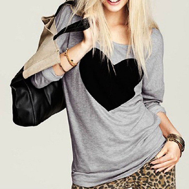 Free Shipping New Women Lady Cute Heart Love Round Neck Long Sleeve Top Tshirt Blouse hv5n