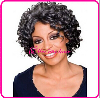 1PC Balck Synhetic Afro Kinky Curly Wig Short Curly Wigs For Ladies Women Elegant Curl Kanekalon Fiber Natural U Part Wig<br><br>Aliexpress
