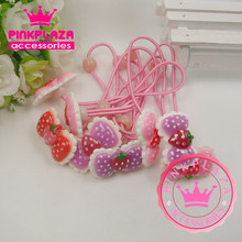 2015 New Arrives Kawaii Bowknot Strawberry Shape Hair Rope Elastic Hair Rubber Band Girl Headwear Hair Accessories Free Shipping