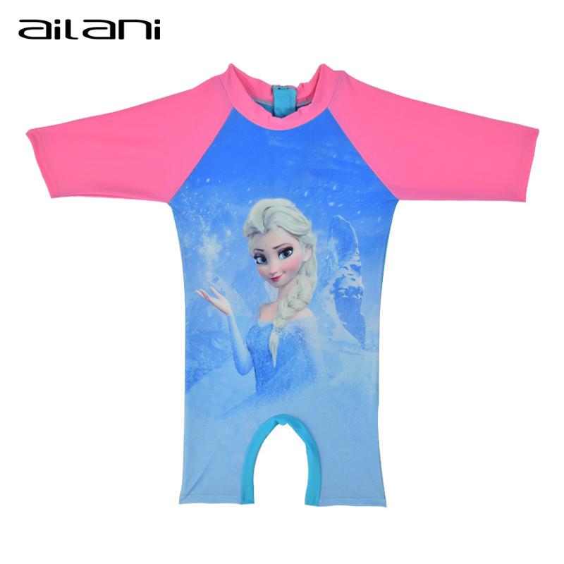 Girls Elsa Rash Guard Kids Half Sleeve One Piece Swimsuit Sun Protection Bathing Suit For Baby Girls Children Beach Wear CL035(China (Mainland))