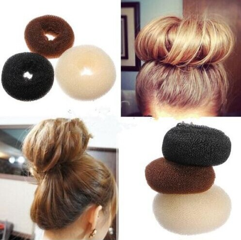 Woman Hairdressing Hair Donut Bun Ring Shaper Styler Maker Brown /Blonde/ Black Color(China (Mainland))