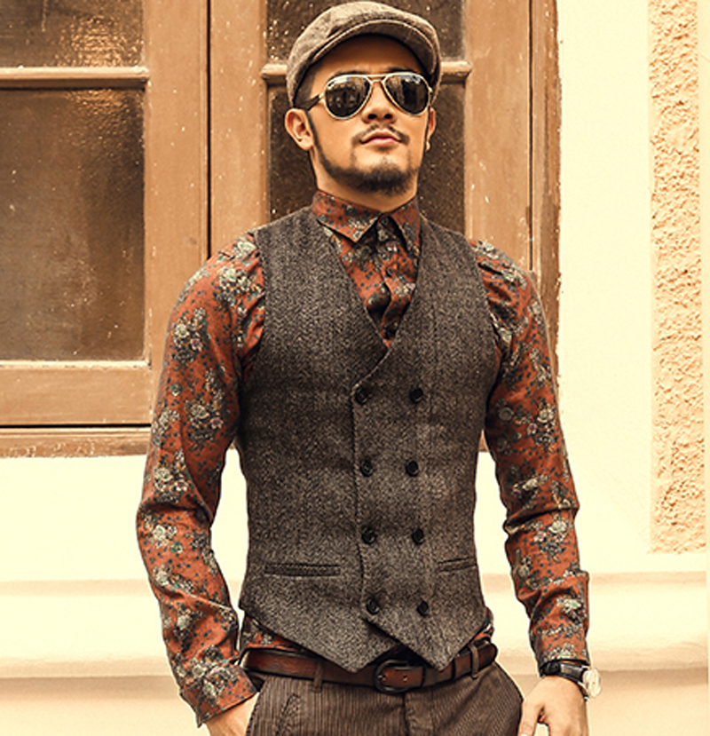 Mens Double Breasted Vest Men Dress Suit Vest Men Formal Grey Vest Suit Gilet Vest Slim Business Jacket Tops homme 2016 spring(China (Mainland))