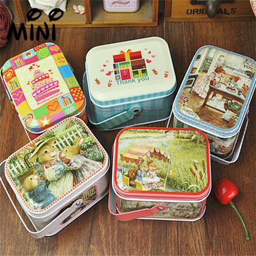 Free shipping!Easter Bunny zakka Handle tin storage box/tea box storage Three packaged for sale(China (Mainland))