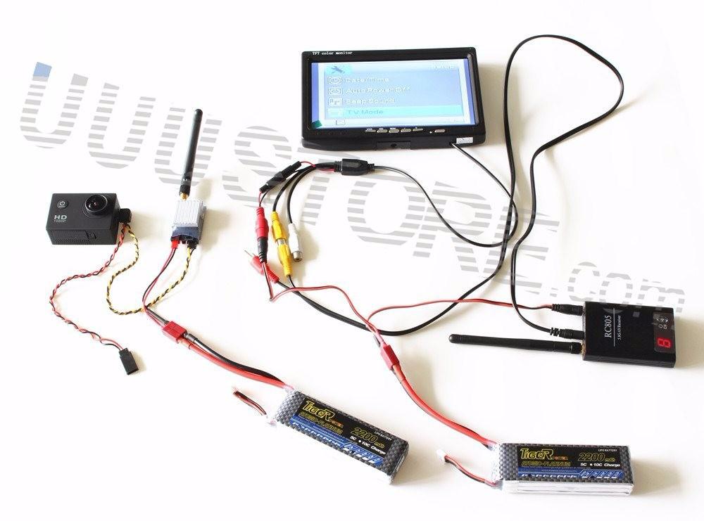 RC FPV Combo system 5.8Ghz 600mw Transmitter Receiver No blue HD FPV monitor And antenna for Gopro SJ4000 QAV250 DJI Phantom Quadcopter2