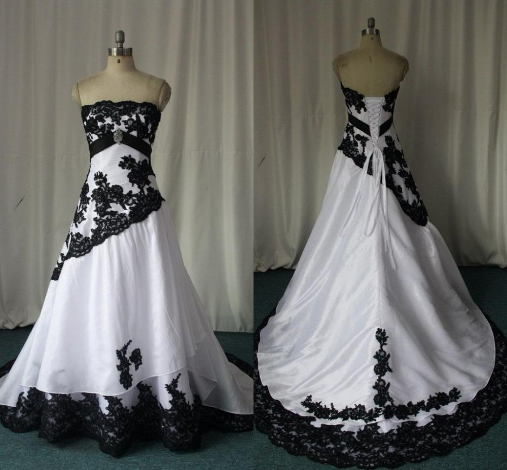 Blanco y negro gótico del vestido de boda imágenes reales sin tirantes Appliques del cordón Vestidos