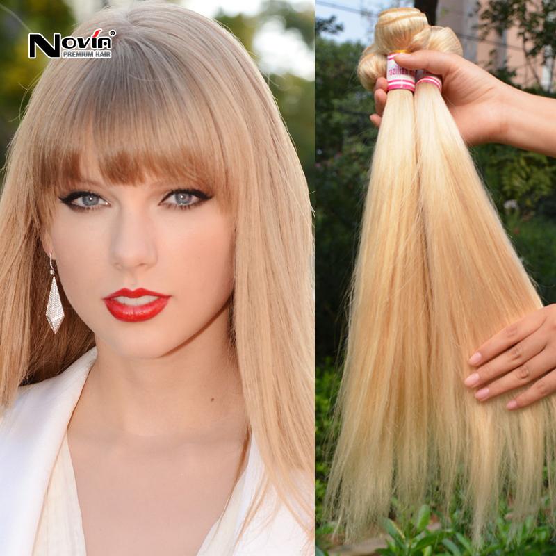 4 Bundles Медовый блондин Brazilian Straight Hair Weaves 100G Virgin Brazilian Blonde Straight Hair Full Head натуральные волосы для наращивания