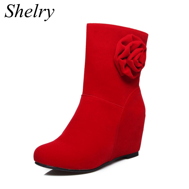 2016 new design boots women round toe nubuck leather ankle boots flower decoration red bottom high heels women's shoes(China (Mainland))