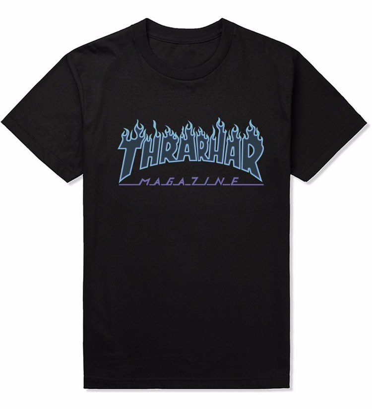 Thrasher Flame Blaze T-Shirt Men Women Skateboards T Shirt Short Sleeve 100% Cotton Skate Tshirts Hip Hop Man Shirts Tops Tees