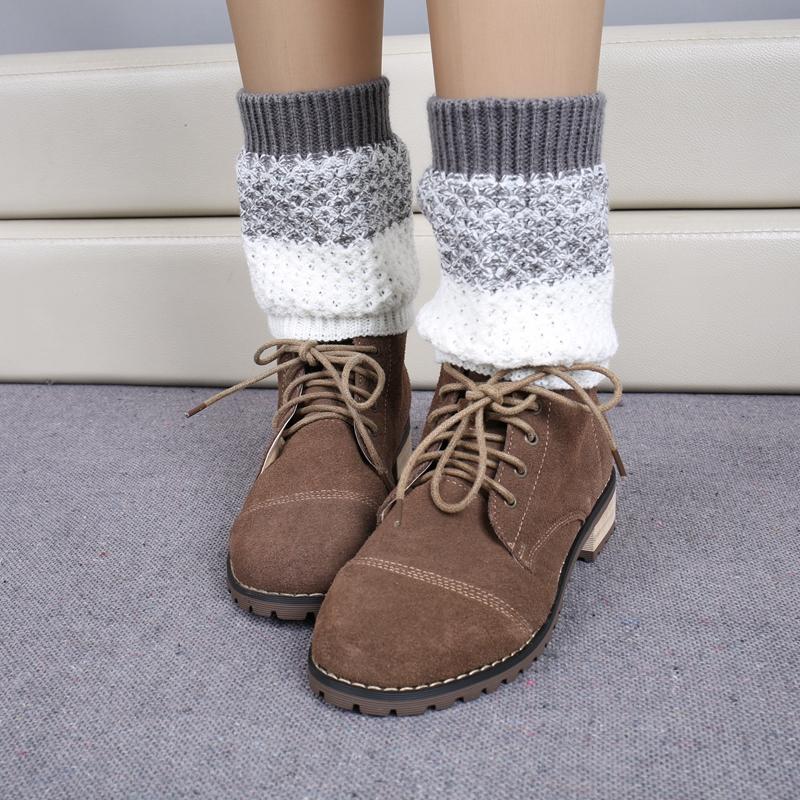1 пара мягкие цвета смесь женщины леди зима осень теплая крючком вязаная полосатый отделка загрузки манжеты ботворезы гетры носок украшения