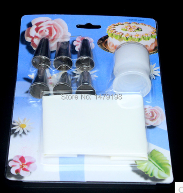 Cake Decorating Tips And Couplers : New 6pcs Icing Nozzles+Coupler+Icing Bag Set Cake ...