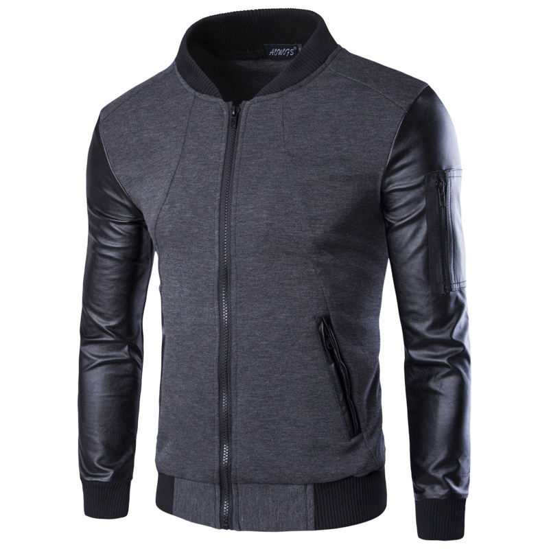 men hoodies patchwork leather sleeve fashion hoodies men. Black Bedroom Furniture Sets. Home Design Ideas