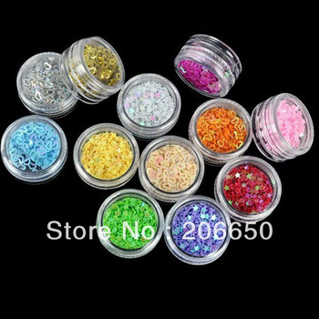 NEW 12Pots Colorful Acrylic Hollow Star Heart Nail Decoration, Nail Sticker, Nail Glitter