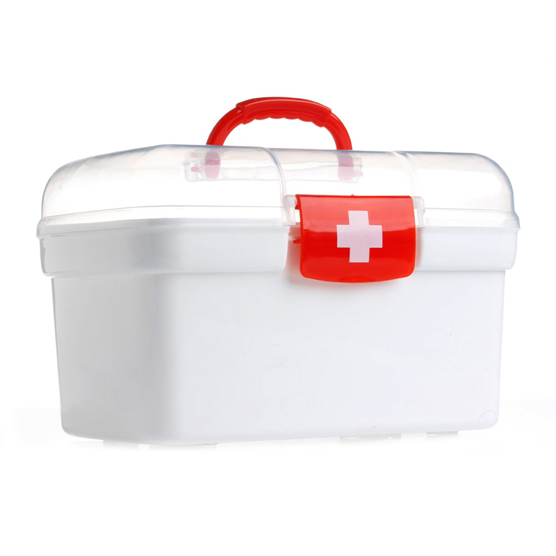 Plastic Clear 2 Layers Health Pill Medicine Chest First Aid Kit Case Storage Box