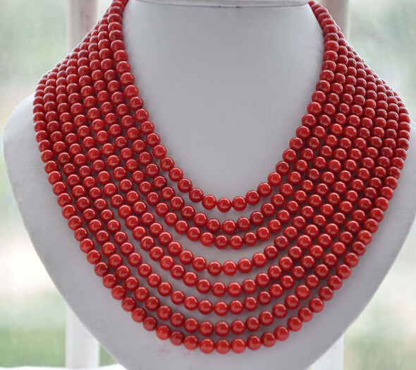 ddh002446 8strands Real 6MM round red coral bead necklace 16-22inch 28% Discount<br><br>Aliexpress