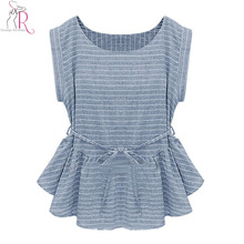2016 Spring New Women Fashion Light Blue Short Sleeve Stripes Peplum Ruffle Hem Loose Casual Blouse Top(China (Mainland))