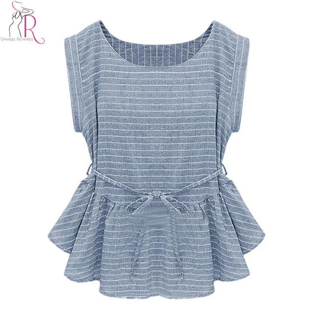 2016 весной новые женщины мода голубой с коротким рукавом полосы баски рюшами-хем-мини-платье ...