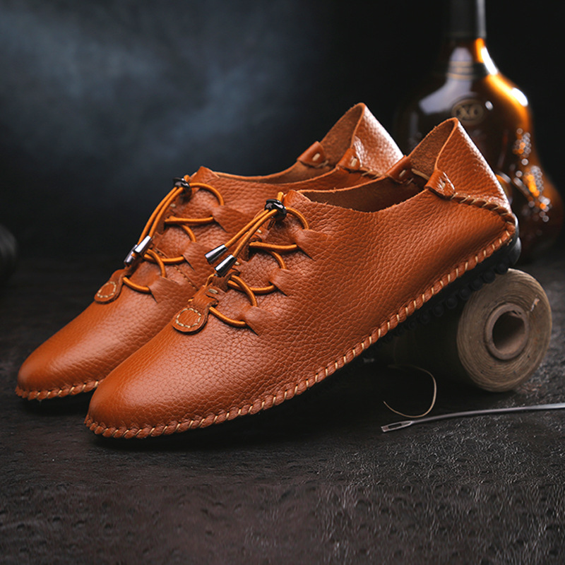 2015 New Men's Casual Leather Shoes Mens Korean Tide Male Shoe Lace - kiki wu's store