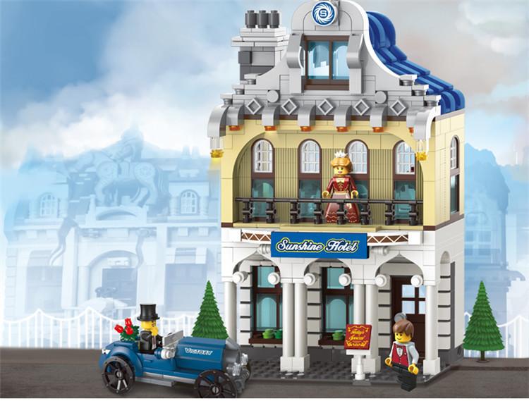 Hot Toy Kid Enlighten Building Blocks City Sunshine Hotel Educational Assembling Model Christmas Gift - C&T Toys store
