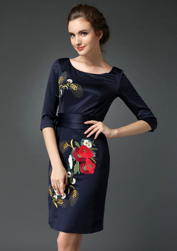 Spring and autumn dress brand new high-end large size womens temperament dress embroidered dress M L XL XXL XXXL 199FОдежда и ак�е��уары<br><br><br>Aliexpress