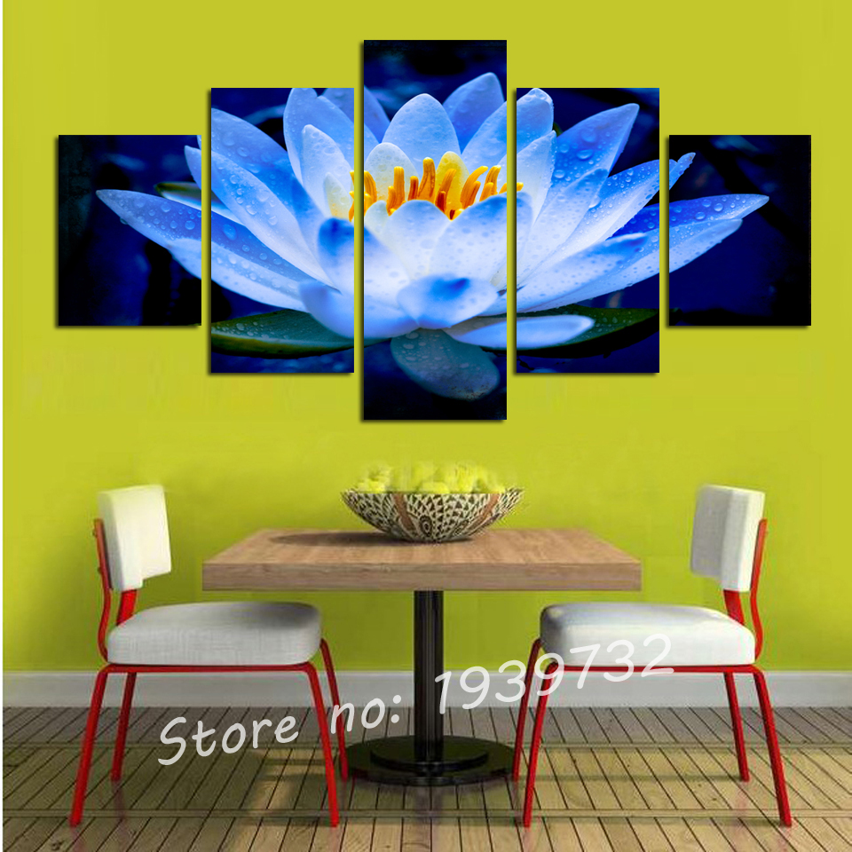 5 pieces Canvas Wall Art Hand Painted Canvas Painting Lotus Pool Floral Painting Wall Art for Home Decor F1719(China (Mainland))