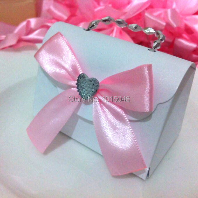 Free Shipping 20X White Creative Crystal European Small Carry Bag Candy Boxes Wedding Favours Gift Boxes Candy Box(China (Mainland))