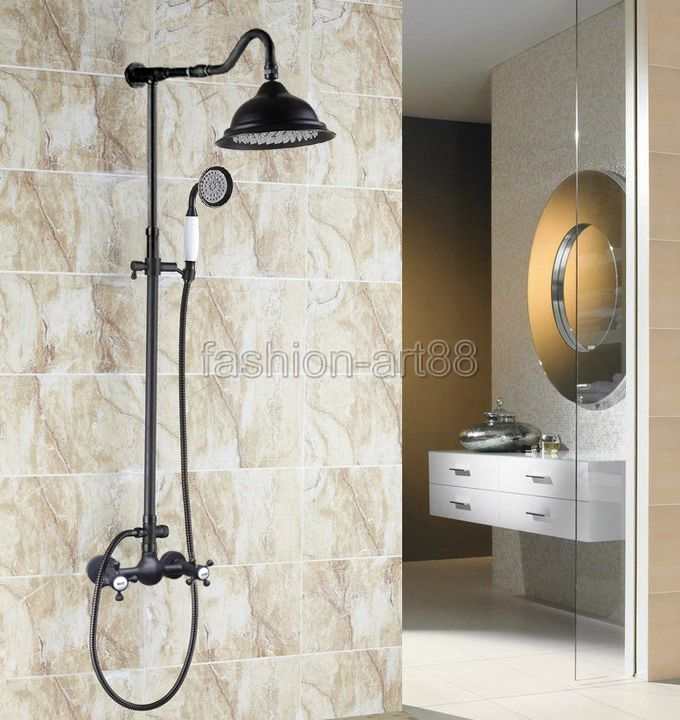 "Oil Rubbed Bronze Hot Cold Handles Wall Mounted Bathroom 8"" Rain Shower Faucet Set With Handheld Shower Mixer Tap ars792(China (Mainland))"